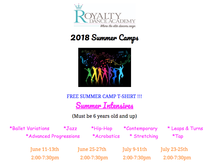 2018 July Summer Intensive starts Monday 2PM - Royalty Dance Academy