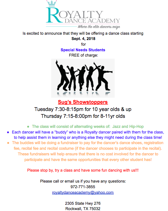 Royalty Dance Academy announces Sug's Showstoppers