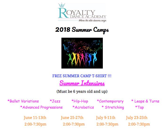 2018 July Summer Intensive starts Monday 2PM