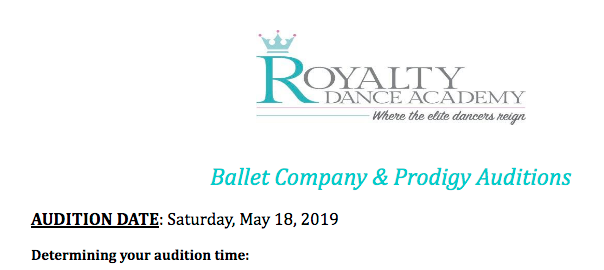 2019-2020 Audition Information